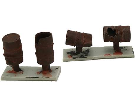 Barrels (damaged with rust), set of 4, HO scale (1/87)
